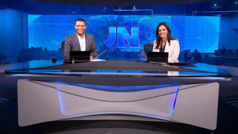 Márcio Bonfim e Cristina Ranzolin na bancada do JN