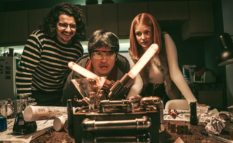 Gabi Lopes e Gusta Stockler gravam filme