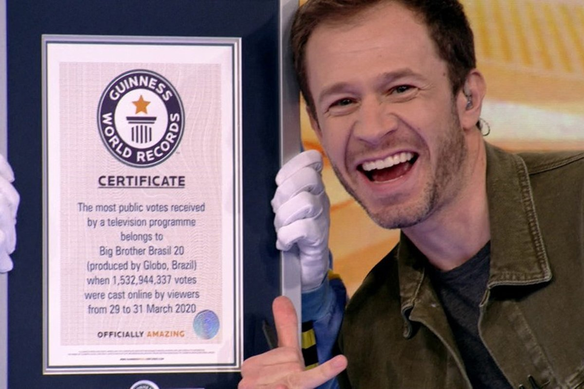 BBB20: Tiago Leifert celebra recorde oficial no Guinness World Records