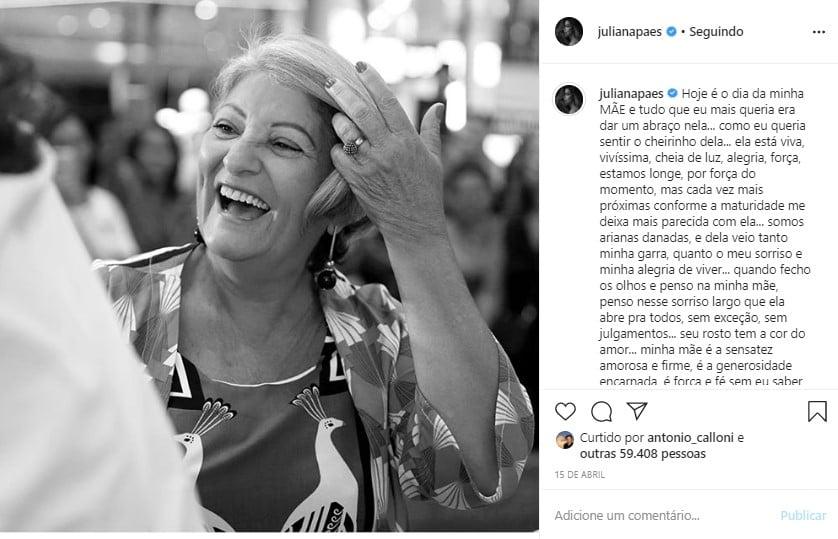 A atriz iria participar de uma live no Instagram, mas cancelou para poder cuidar da mãe, que está com sintomas do covid-19 e mora com a avó