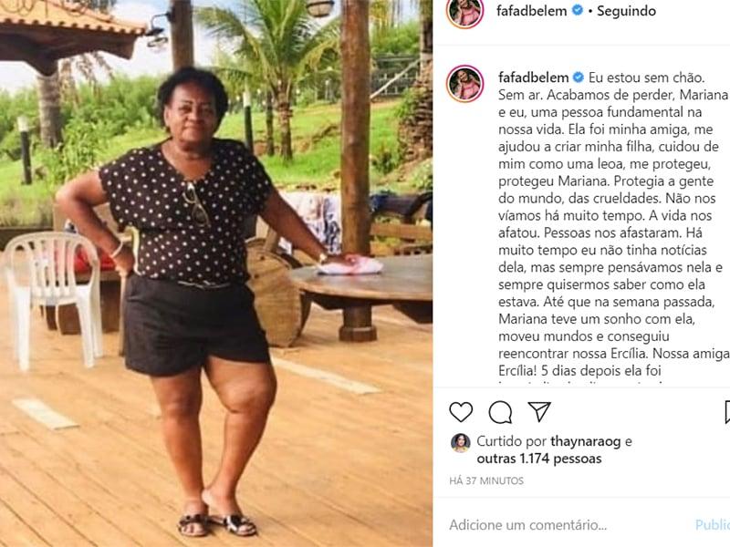 Fafá de Belém lamenta a morte de babá da filha