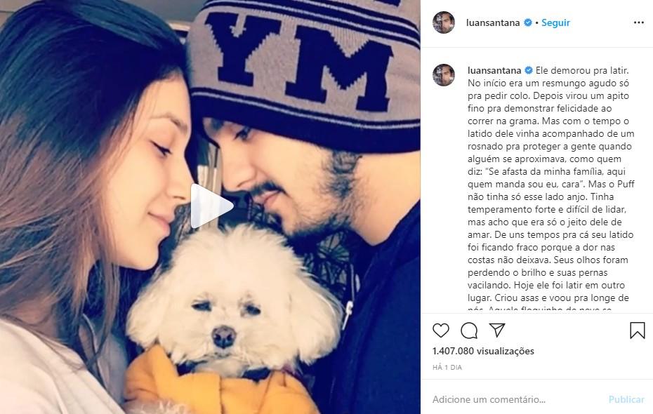 Cantor sertanejo faz linda homenagem após morte de seu cachorrinho: 'Criou asas e voou pra longe de nós'