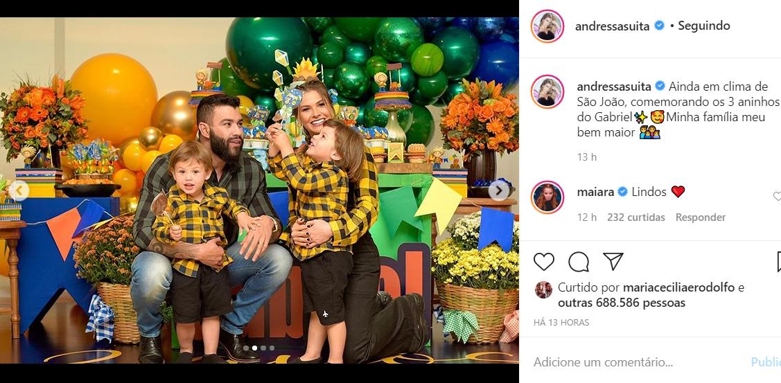 Gusttavo Lima e Andressa Suita mostram a festa de aniversário do filho