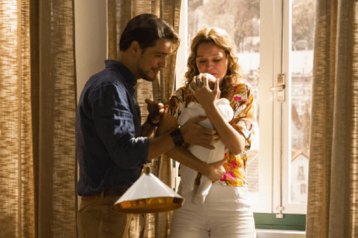 Jorge e Bia com Madalena na novela Ouro Verde