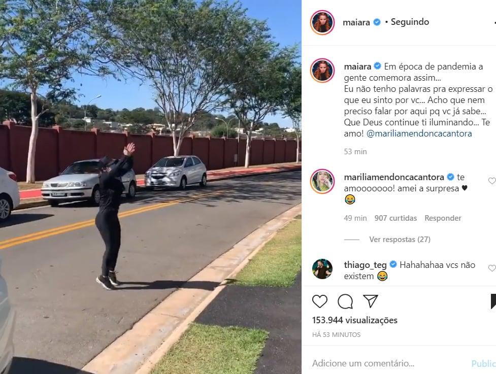 Maiara faz surpresa para Marília Mendonça