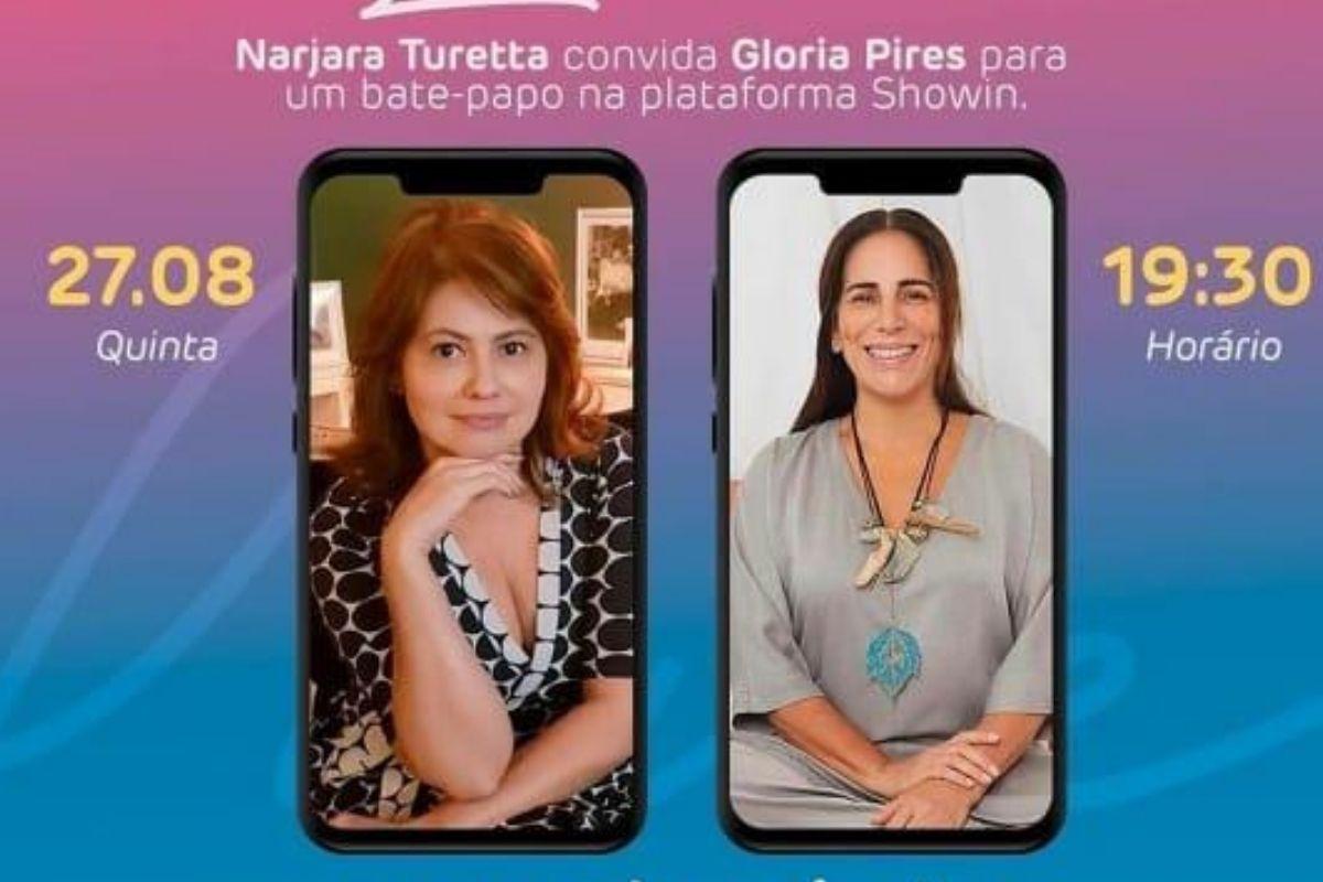 Narjara Turetta convida Gloria Pires para um bate papo. Reprodução: Instagram