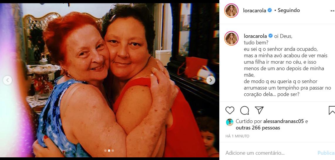 Carolina Dieckmann lamenta a morte de sua tia