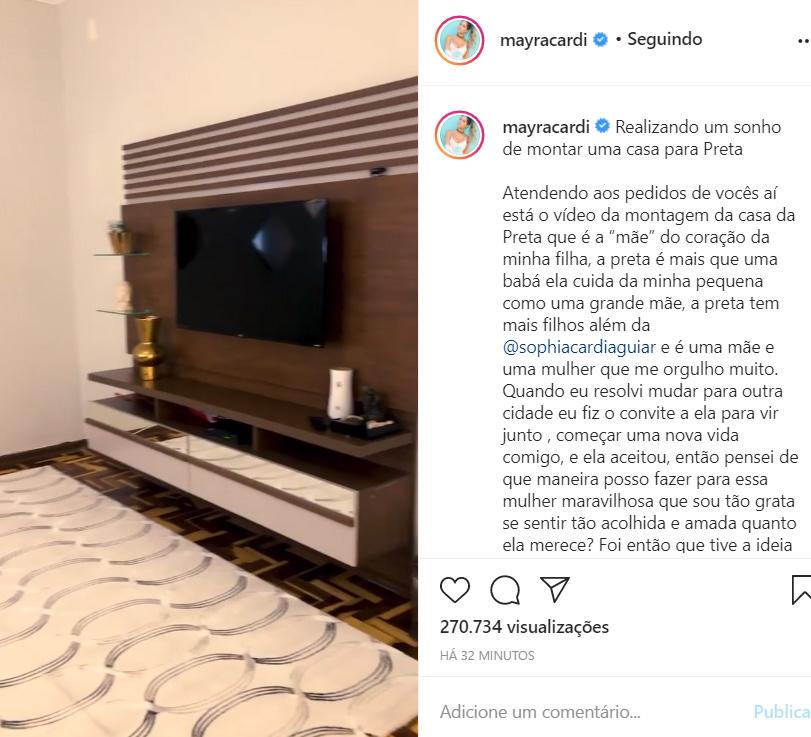 Mayra Cardi mostra a casa da babá de sua filha
