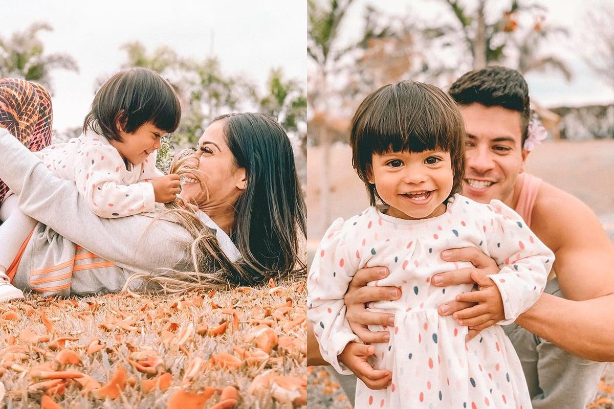 Mayra Cardi e Arthur Aguiar com a filha, Sophia