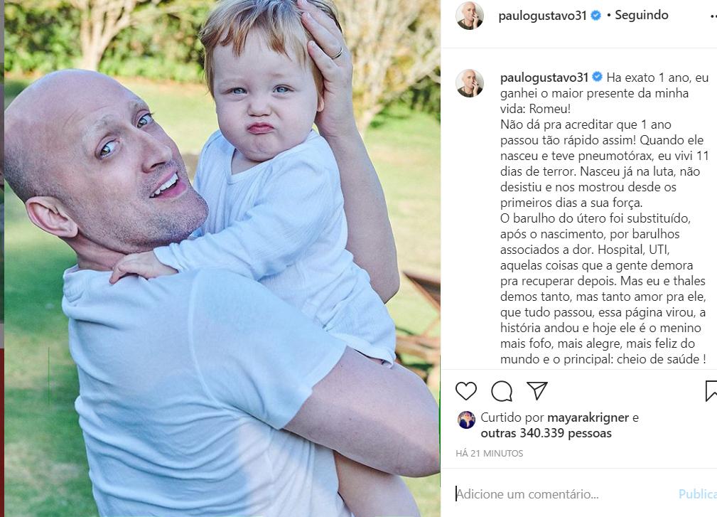 Paulo Gustavo e o filho Romeu