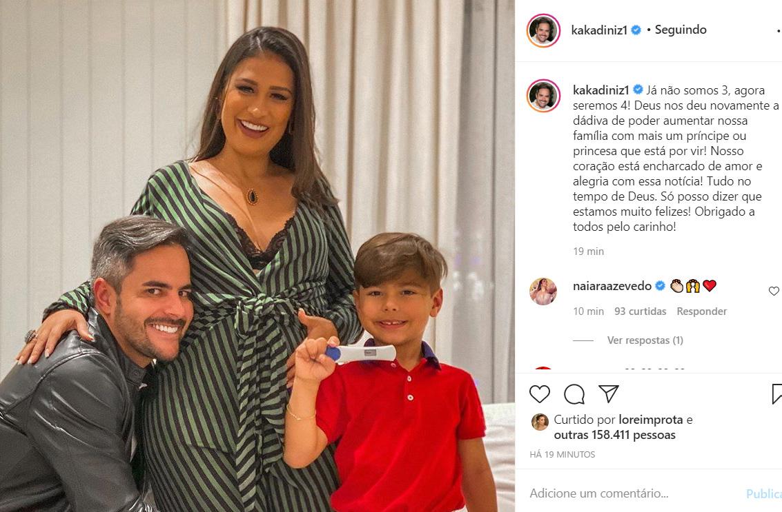 Kaká Diniz celebra a gravidez da esposa, Simone