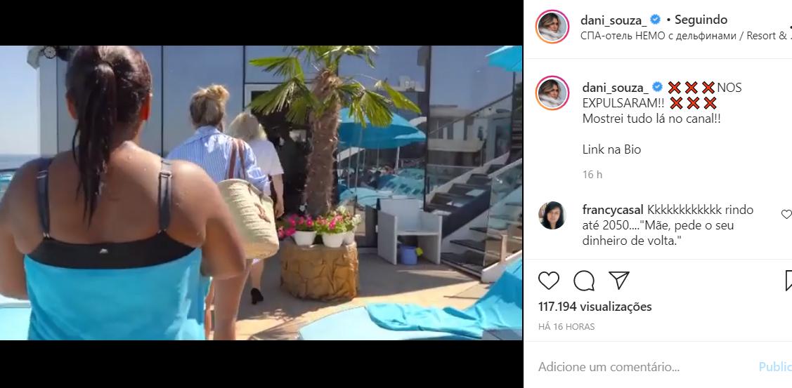 Dani Souza é expulsa de piscina de hotel