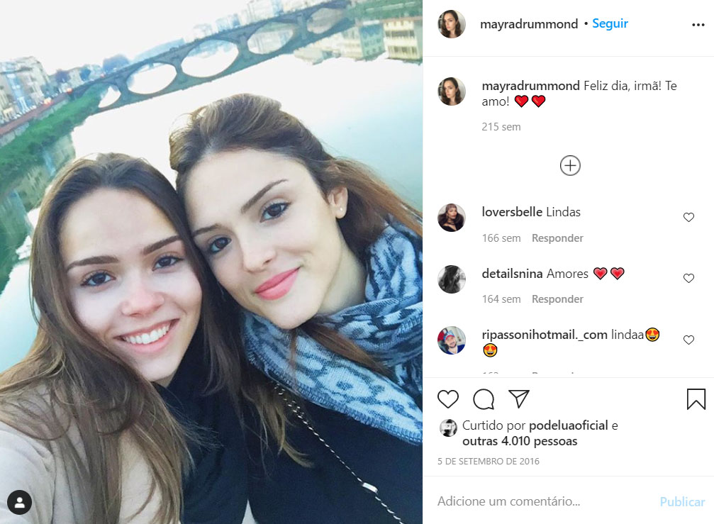 Isabelle Drummond e a irmã, Mayra Drummond