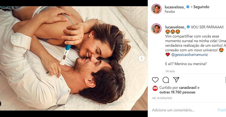 Lucas Veloso festeja a gravidez da namorada