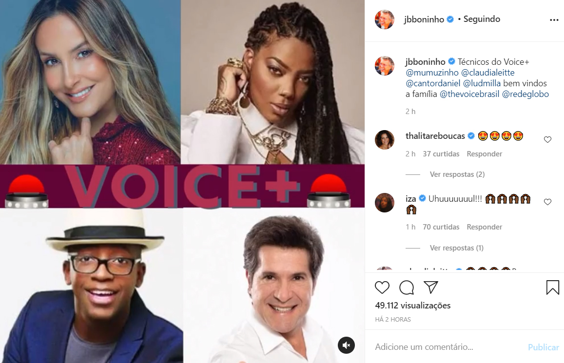 Boninho confirma o time de jurados do The Voice+