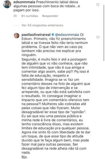 Paolla Oliveira dá bronca em seguidor