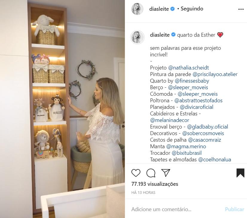 Quarto da filha de Carol Dias e Kaká