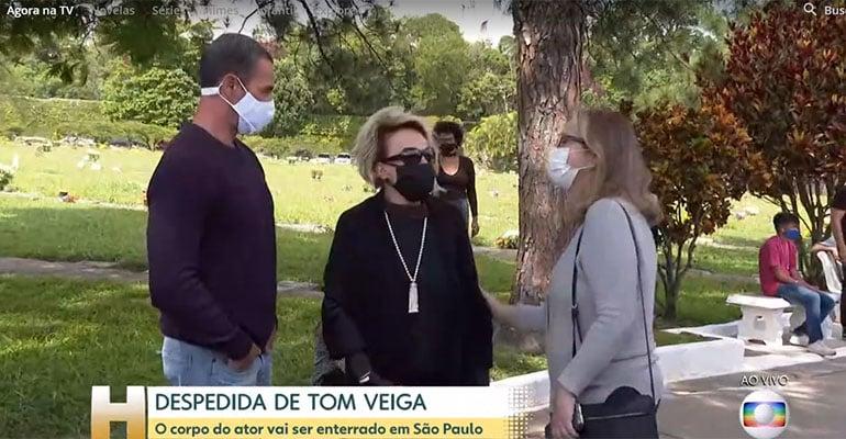 Ana Maria Braga no velório de Tom Veiga