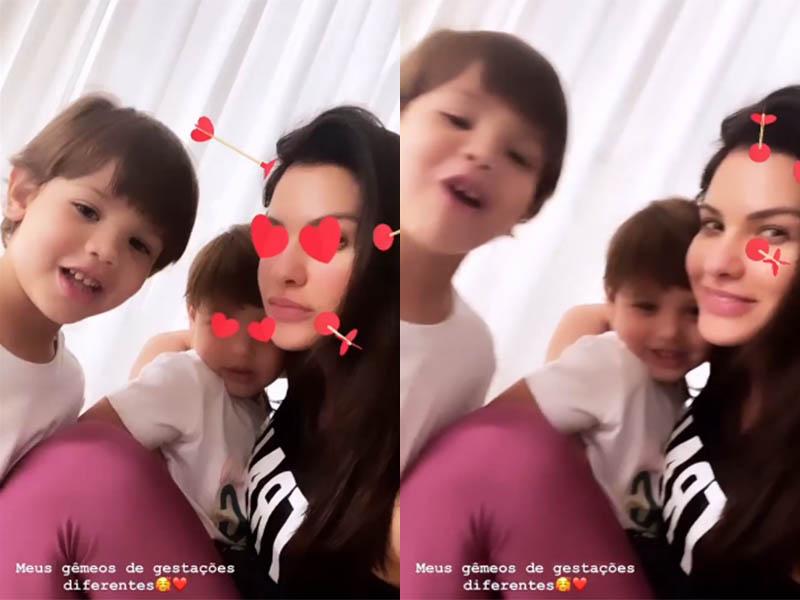 Andressa Suita e os filhos
