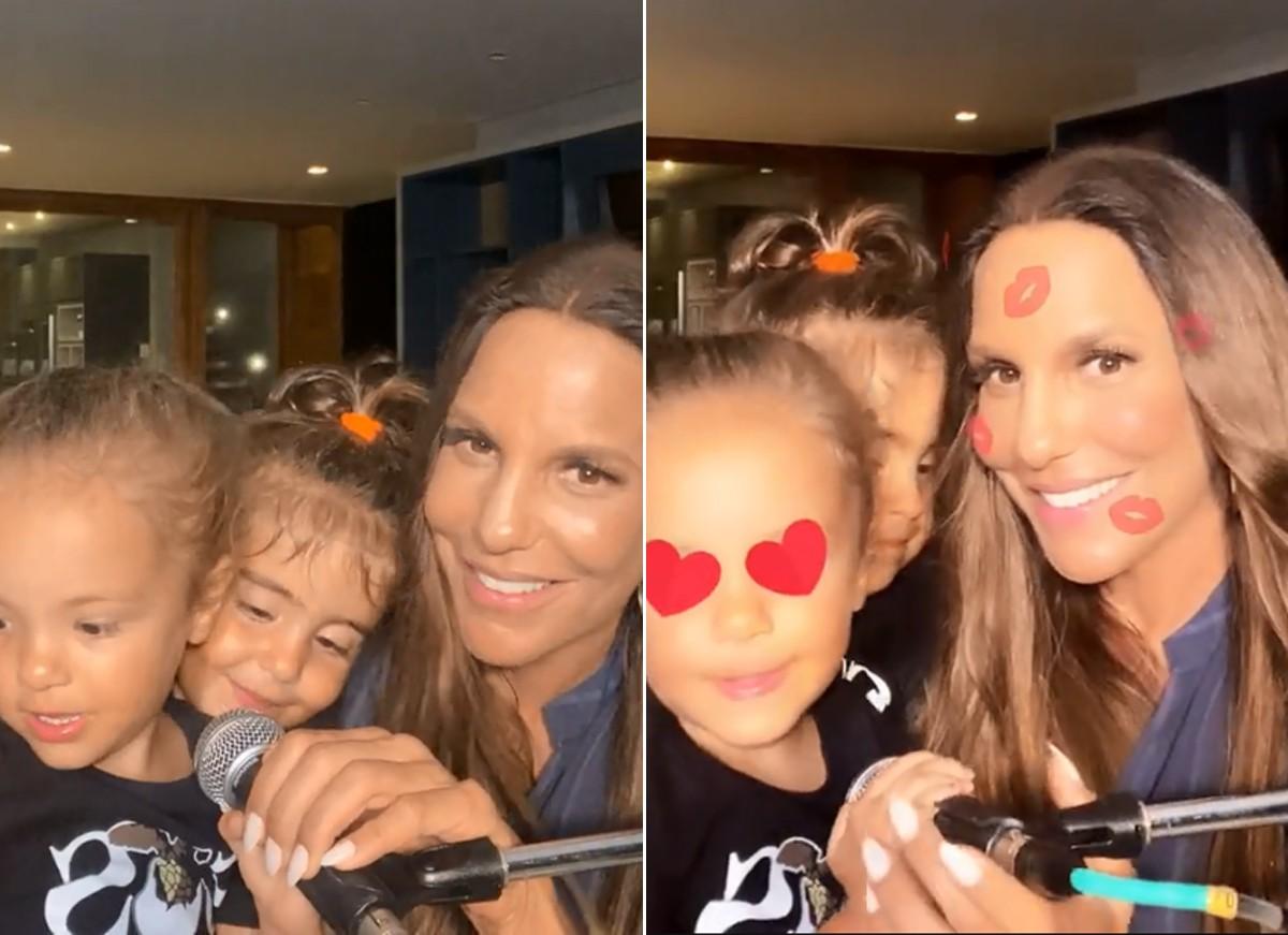 Ivete Sangalo e as filhas gêmeas, Marina e Helena