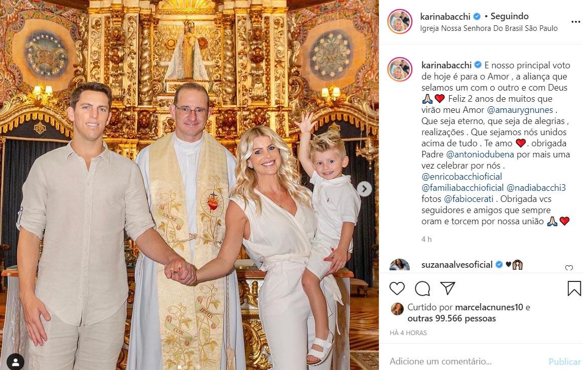 Karina Bacchi renova os votos de casamento