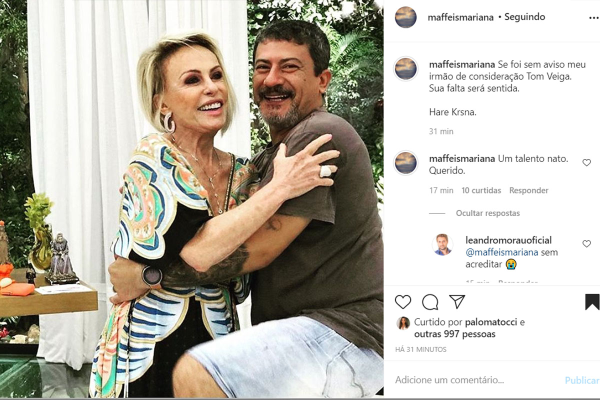 Filha de Ana Maria Braga fala de Tom Veiga