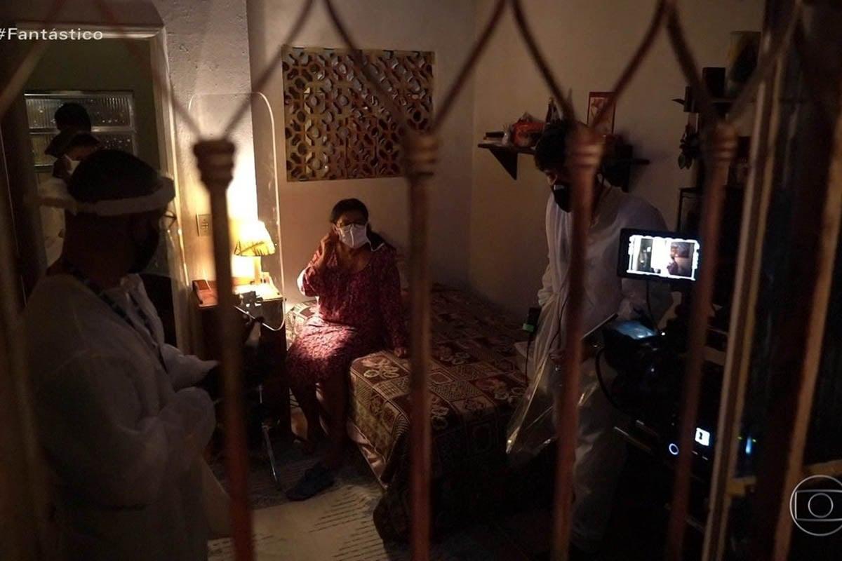 Bastidores de Amor de Mãe durante as gravações na pandemia