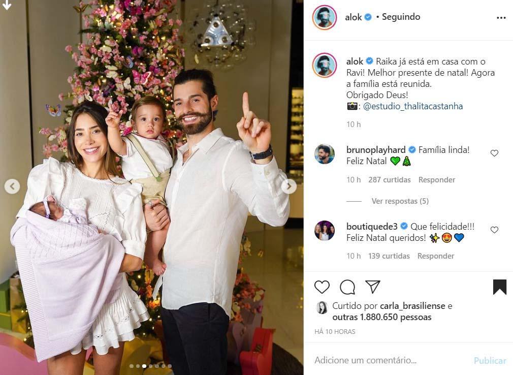 Romana Novais e Alok com os filhos, Raika e Ravi
