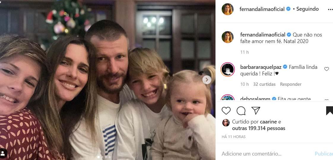 Fernanda Lima com sua família