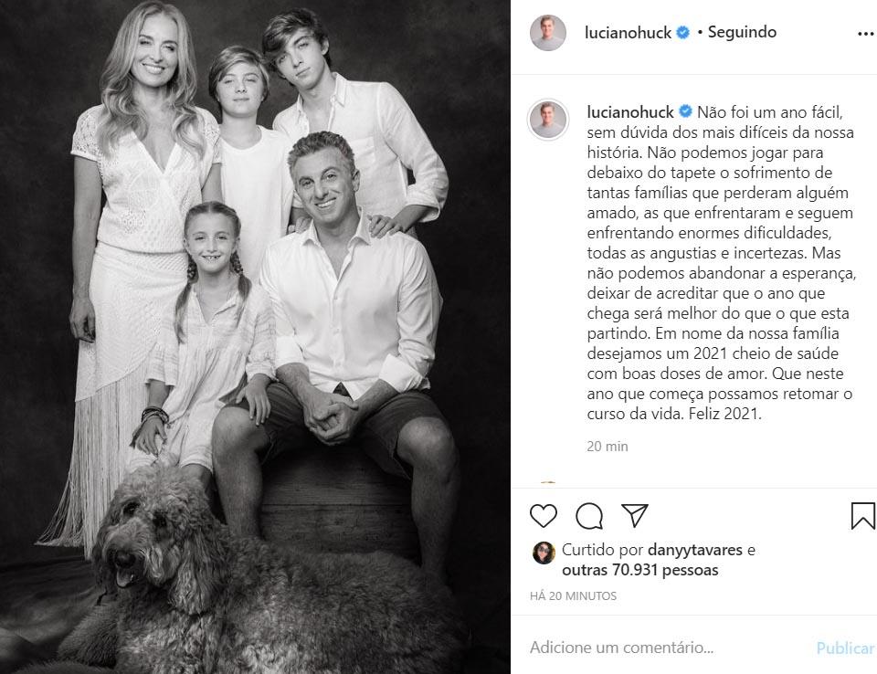 Luciano Huck com a família