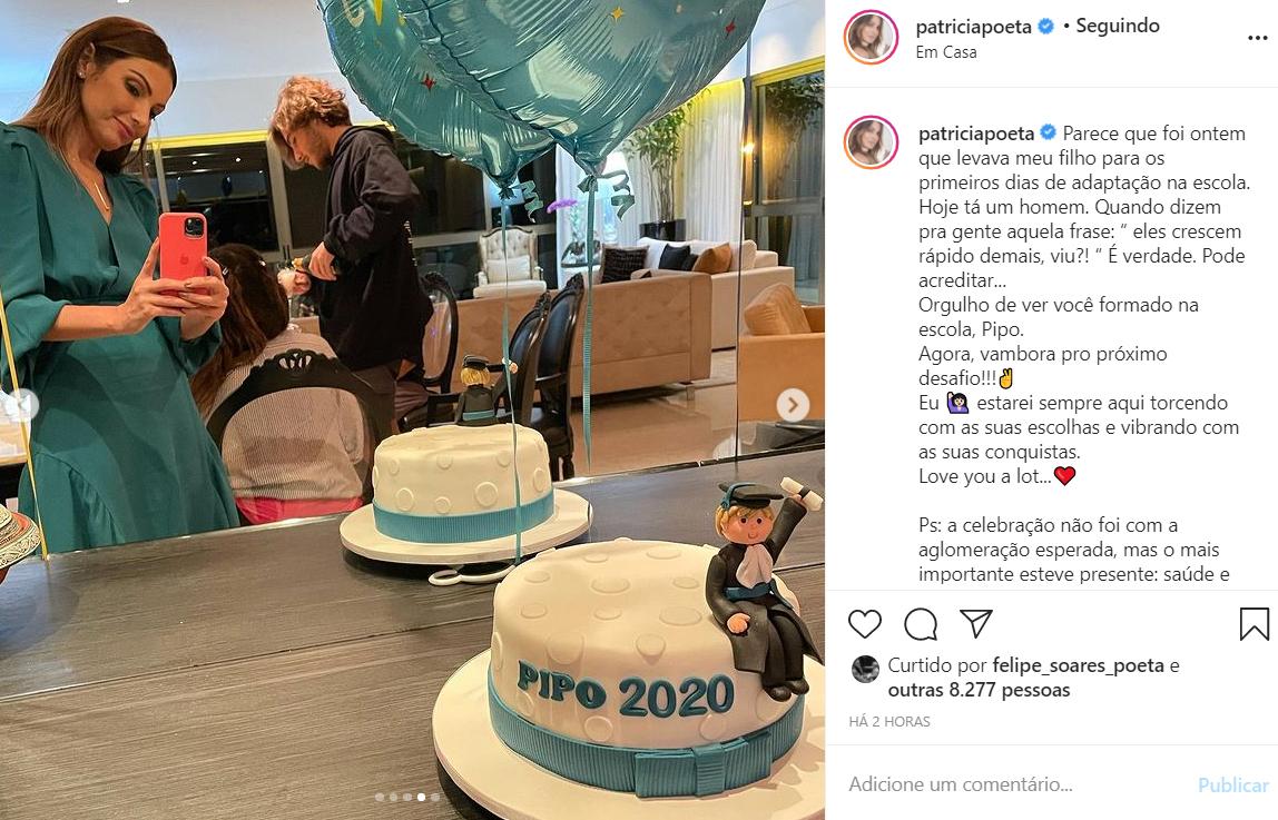 Patricia Poeta comemora a formatura do filho
