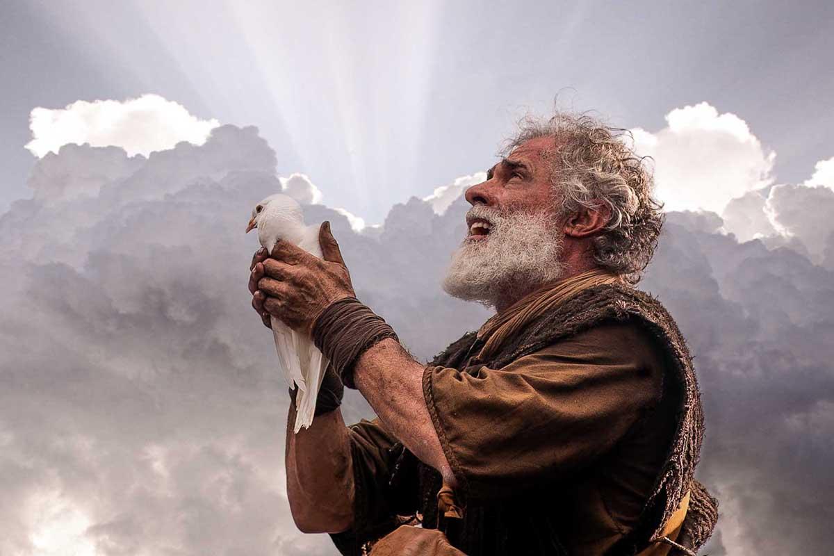 Noé solta a pomba em cena da novela Gênesis, da Record