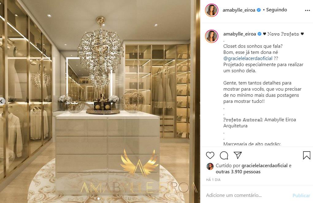 Closet de Graciele Lacerda no novo triplex