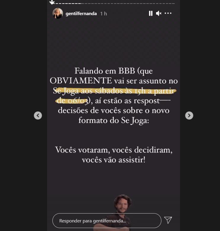 Fernanda Gentil falando do Se Joga