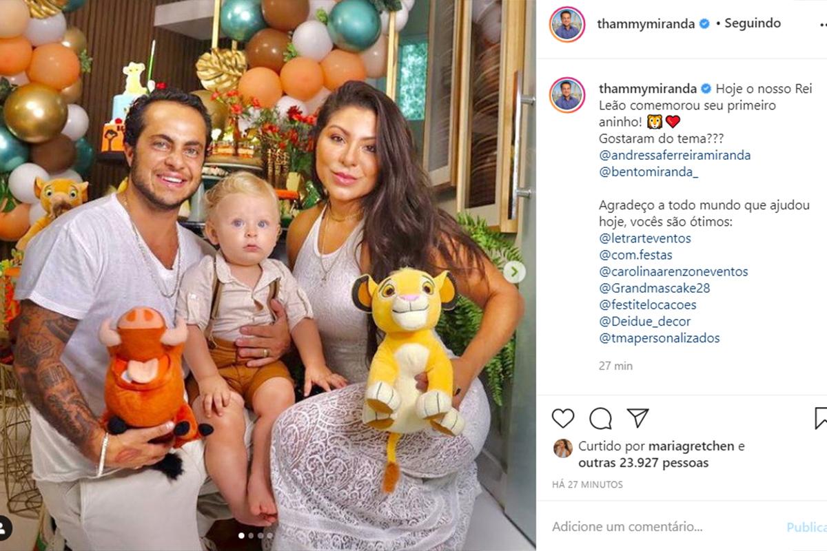 Thammy Miranda celebra o aniversário do filho, Bento