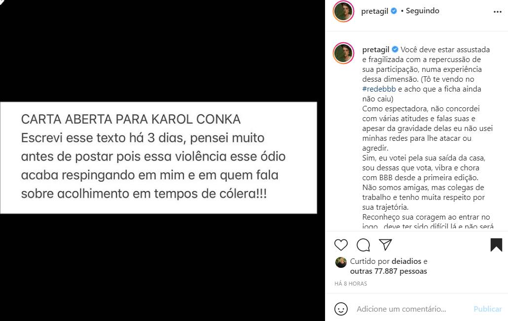 Preta Gil fala da Karol Conká