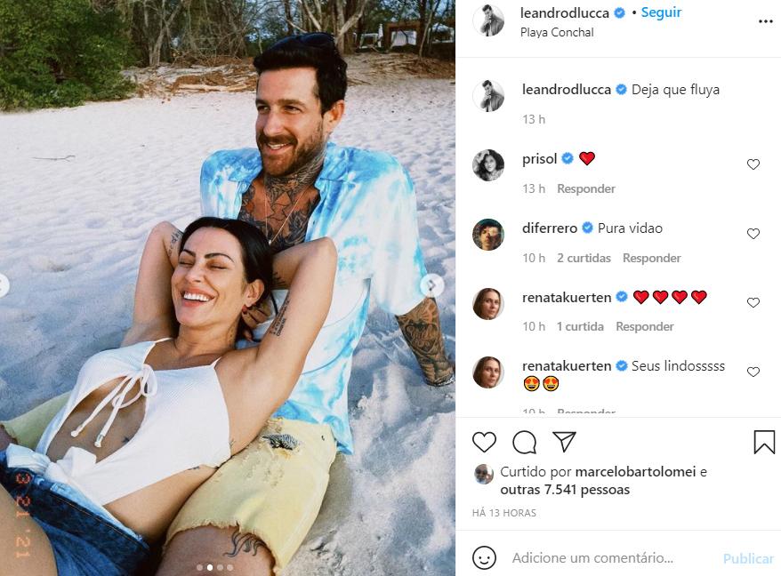 Cleo aparece em novas fotos com o namorado, Leandro D'Lucca