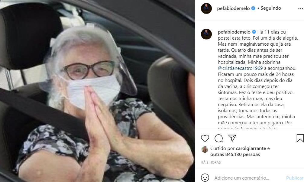 Mãe do padre Fábio de Melo