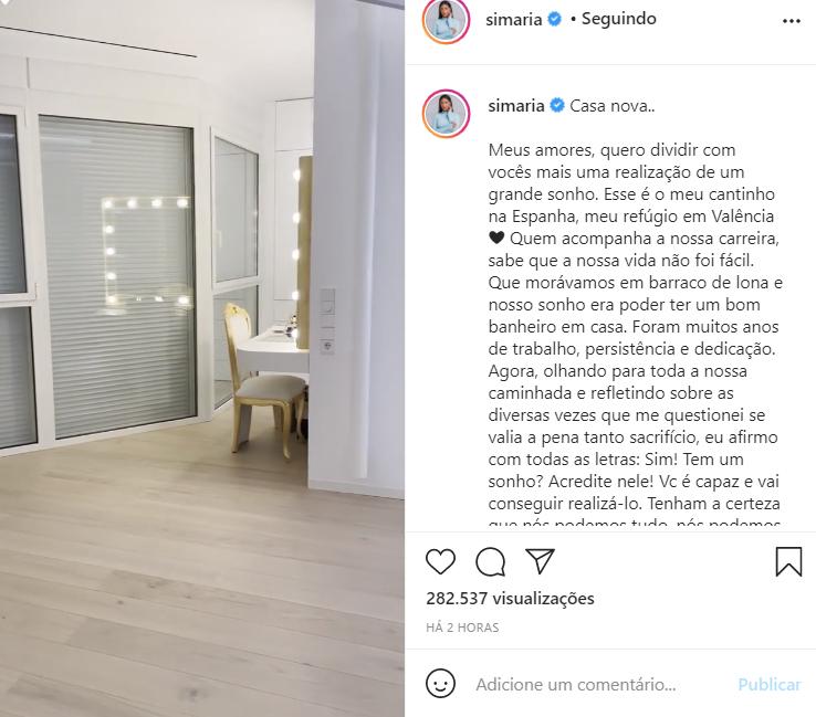 Simaria compra apartamento na Espanha