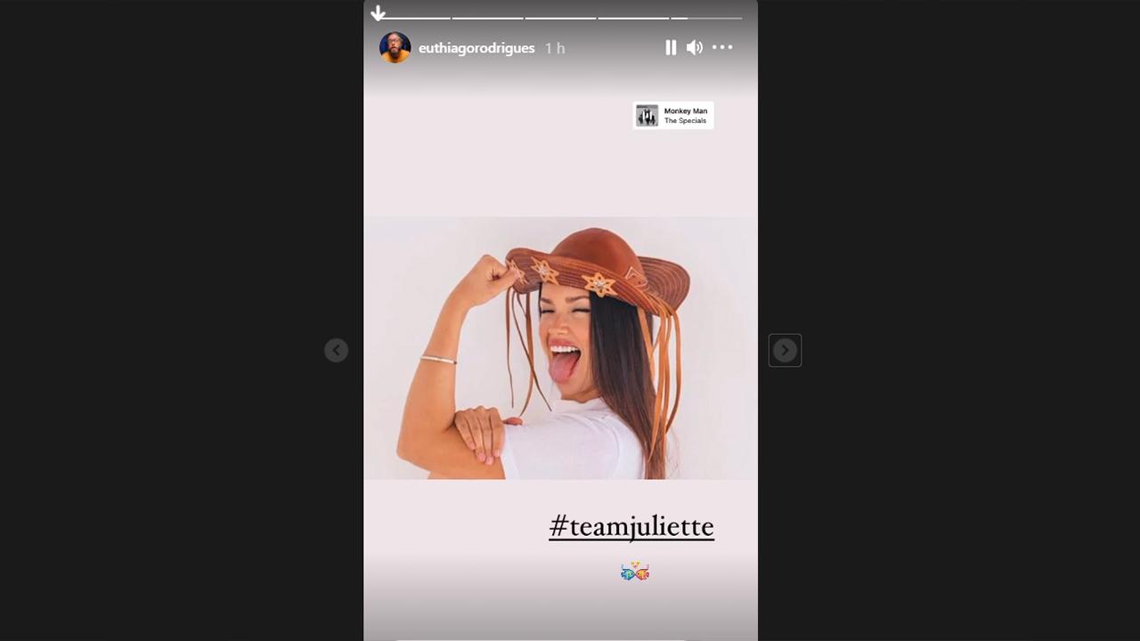 Thiago Rodrigues mostra foto de Juliette no Instagram