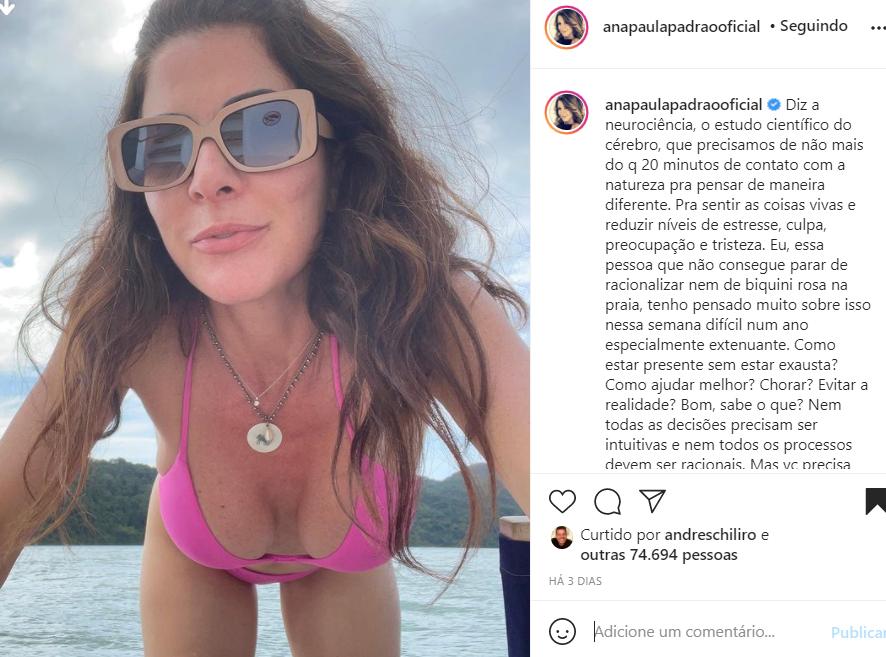 Ana Paula Padrão mostra foto de biquíni - Crédito: Reprodução / Instagram