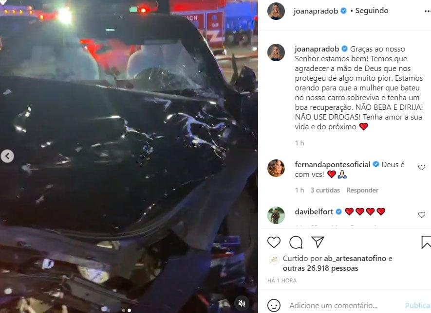 Carro de Joana Prado após acidente na Flórida