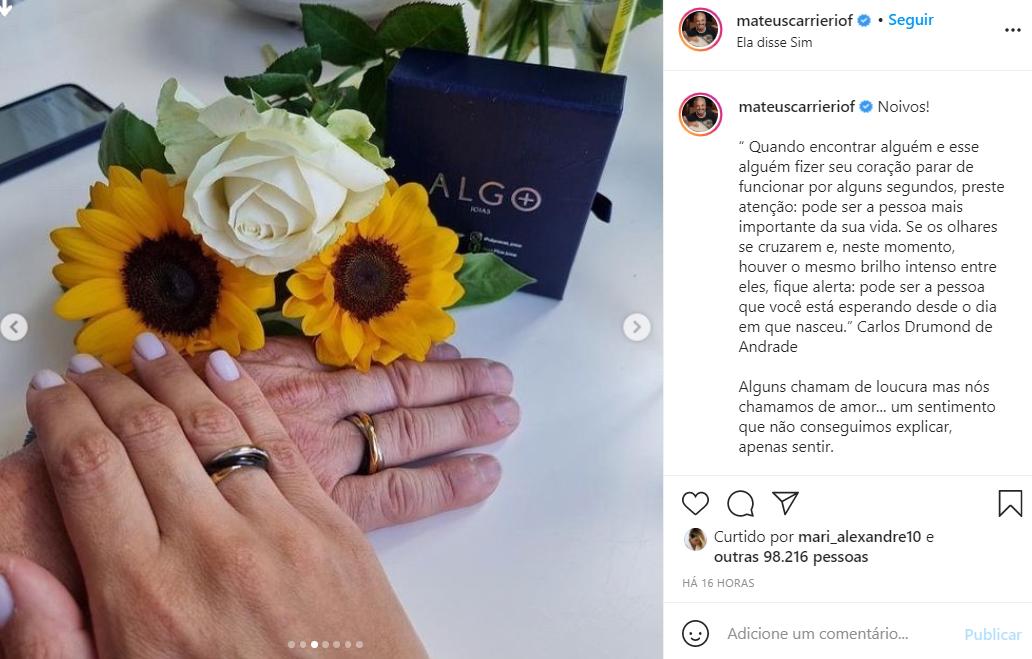 Mateus Carrieri faz pedido de casamento para Day Ribeiro