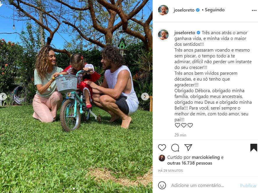 Débora Nascimento, Bella e José Loreto - Crédito: Reprodução / Instagram