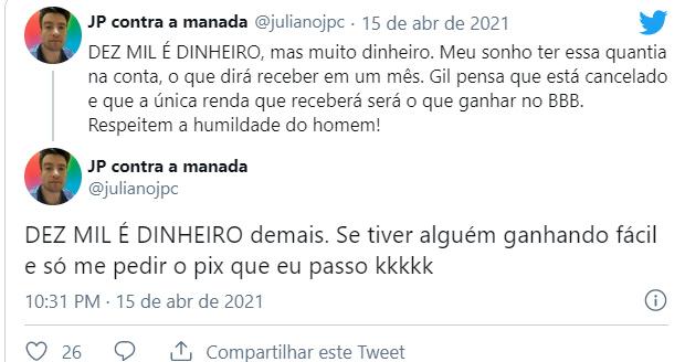 Fãs criticam Juliette por rir da dívida de Gilberto no BBB21 - Crédito: Reprodução / Twitter