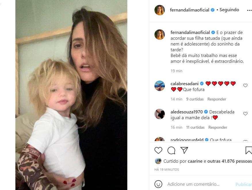 Fernanda Lima e a filha, Maria - Crédito: Reprodução / Instagram