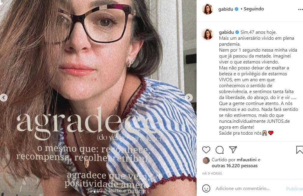 Gabriela Duarte fala sobre seu aniversário de 47 anos - Crédito: Reprodução / Instagram