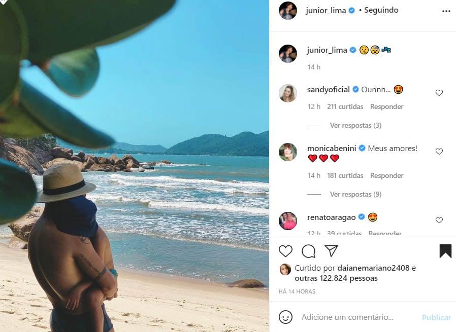 Junior Lima com o filho, Otto - Crédito: Reprodução / Instagram