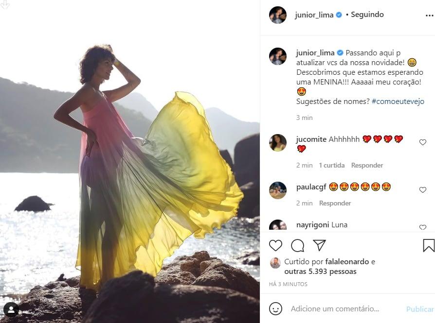 Junior Lima mostra foto da esposa, Monica Benini, que está grávida pela segunda vez - Crédito: Reprodução / Instagram