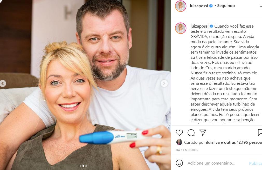 Luiza Possi revela que está grávida pela segunda vez - Crédito: Reprodução / Instagram